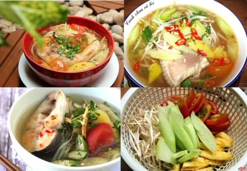 Canh chua cá lóc (cá quả) nấu dọc mùng